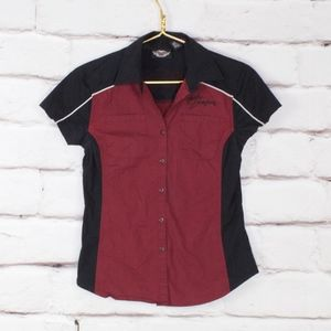 Harley-Davidson Maroon Black Button Down Shirt XS